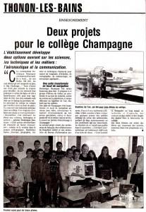 Activités aéronautiques au collège de Champagne à Thonon