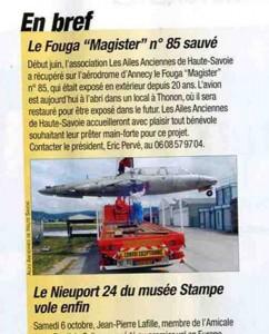 Le sauvetage du FOUGA n°85 à Annecy en Juin 2007