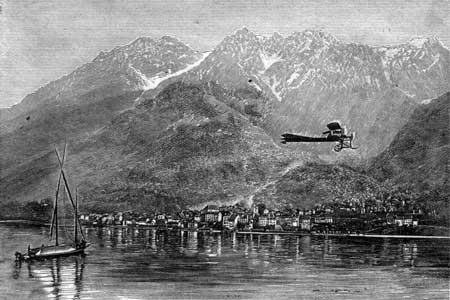 Parti de Noville (VD) à l'est du lac Léman, l'appareil piloté par Armand Dufaux, passe à 50m d'altitude au large de Saint-Gingolph (74, F) le dimanche 28 août 1910, établissant bientôt le nouveau record du monde de distance sur l'eau.