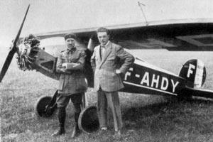 Thoret et Marcel Weber à Cointrin devant l'Albert TE-1 de 40cv (juin 1926).