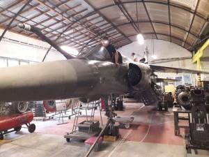 Le Mirage F1-CT n°220, sous le hangar des Ailes anciennes de Haute-Savoie, samedi 6 juin.